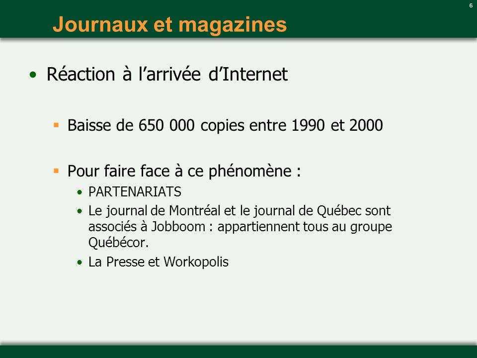6 Journaux et magazines Réaction à larrivée dInternet Baisse de 650 000 copies entre 1990 et 2000 Pour faire face à ce phénomène : PARTENARIATS Le jou