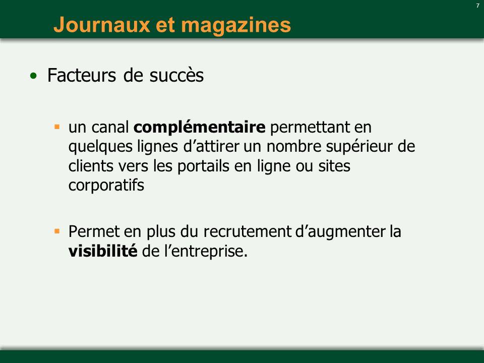 7 Journaux et magazines Facteurs de succès un canal complémentaire permettant en quelques lignes dattirer un nombre supérieur de clients vers les port