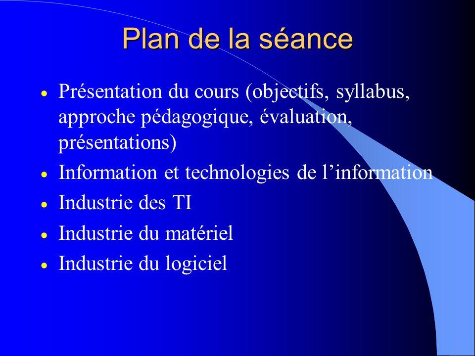Plan de la séance Présentation du cours (objectifs, syllabus, approche pédagogique, évaluation, présentations) Information et technologies de linformation Industrie des TI Industrie du matériel Industrie du logiciel