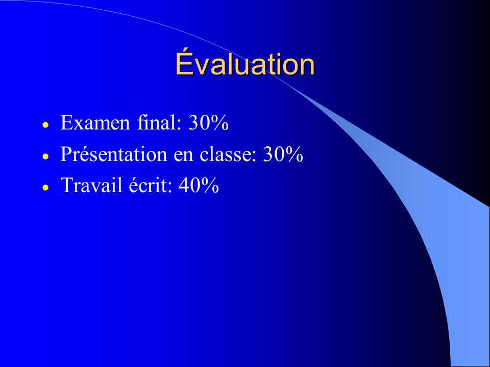 Évaluation Examen final: 30% Présentation en classe: 30% Travail écrit: 40%