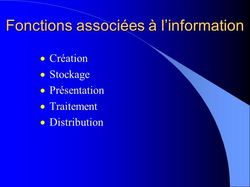 Fonctions associées à linformation Création Stockage Présentation Traitement Distribution