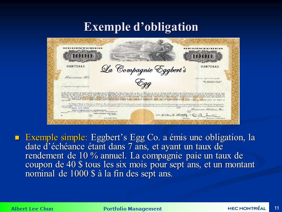 Albert Lee Chun Portfolio Management 11 Exemple dobligation Exemple simple: Eggberts Egg Co. a émis une obligation, la date déchéance étant dans 7 ans