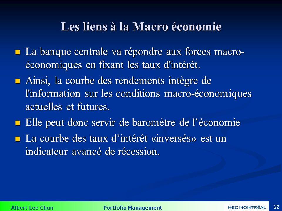 Albert Lee Chun Portfolio Management 22 Les liens à la Macro économie La banque centrale va répondre aux forces macro- économiques en fixant les taux