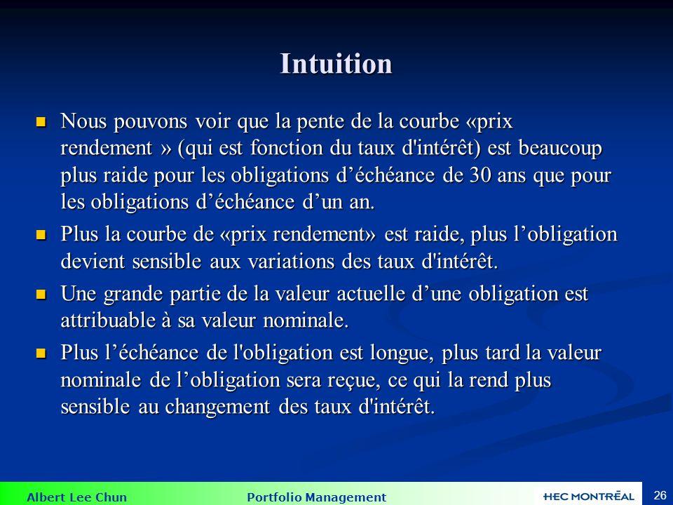 Albert Lee Chun Portfolio Management 26 Intuition Nous pouvons voir que la pente de la courbe «prix rendement » (qui est fonction du taux d'intérêt) e