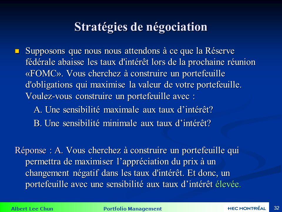 Albert Lee Chun Portfolio Management 32 Stratégies de négociation Supposons que nous nous attendons à ce que la Réserve fédérale abaisse les taux d'in