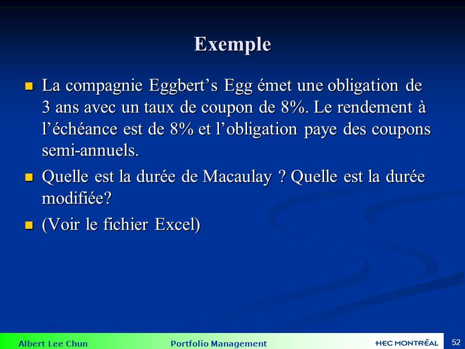 Albert Lee Chun Portfolio Management 52 Exemple La compagnie Eggberts Egg émet une obligation de 3 ans avec un taux de coupon de 8%. Le rendement à lé