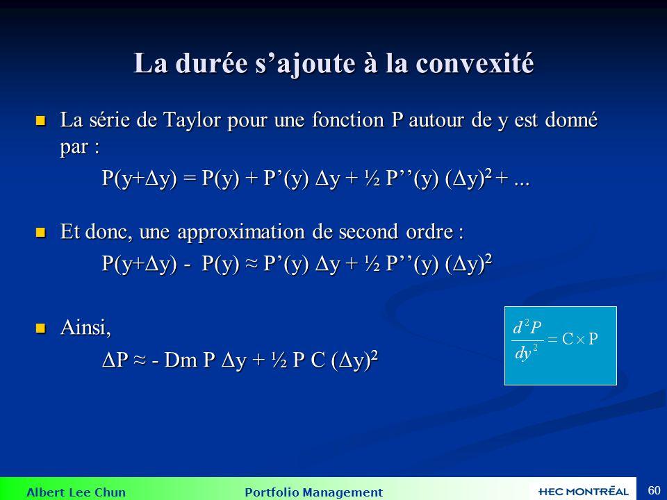 Albert Lee Chun Portfolio Management 60 La durée sajoute à la convexité La série de Taylor pour une fonction P autour de y est donné par : La série de