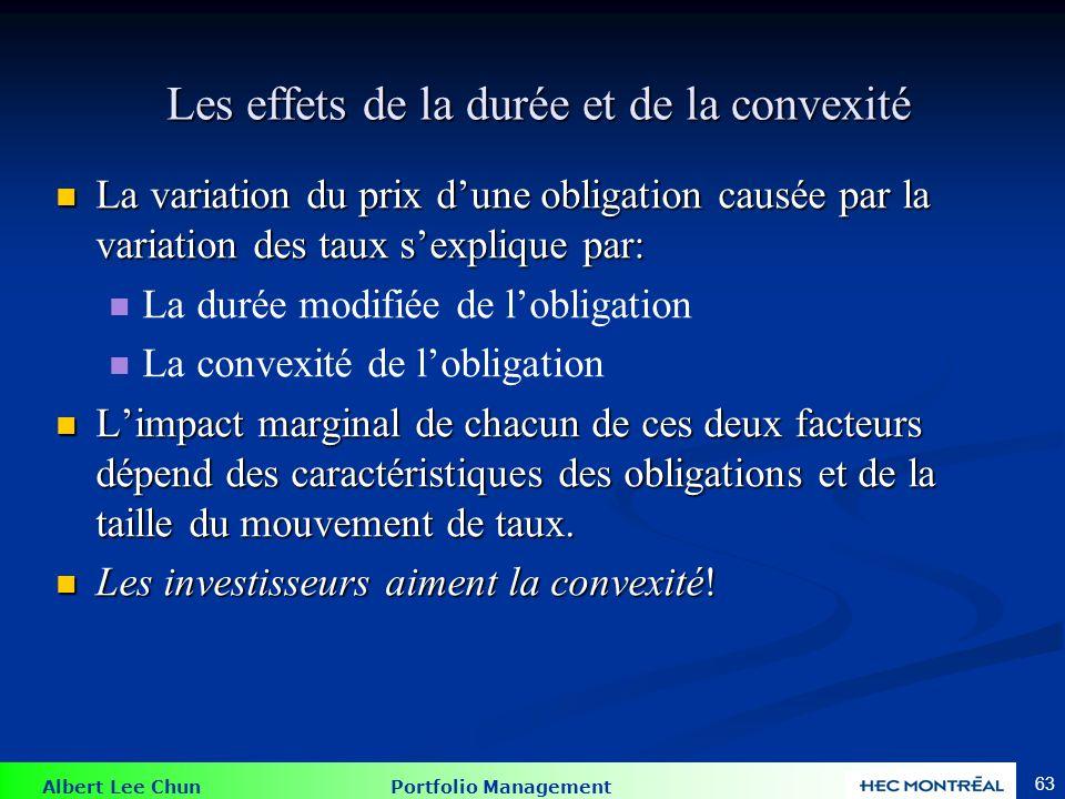 Albert Lee Chun Portfolio Management 63 Les effets de la durée et de la convexité Les effets de la durée et de la convexité La variation du prix dune