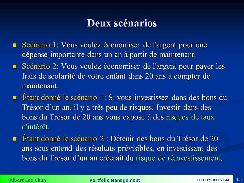 Albert Lee Chun Portfolio Management 65 Deux scénarios Scénario 1: Vous voulez économiser de l'argent pour une dépense importante dans un an à partir