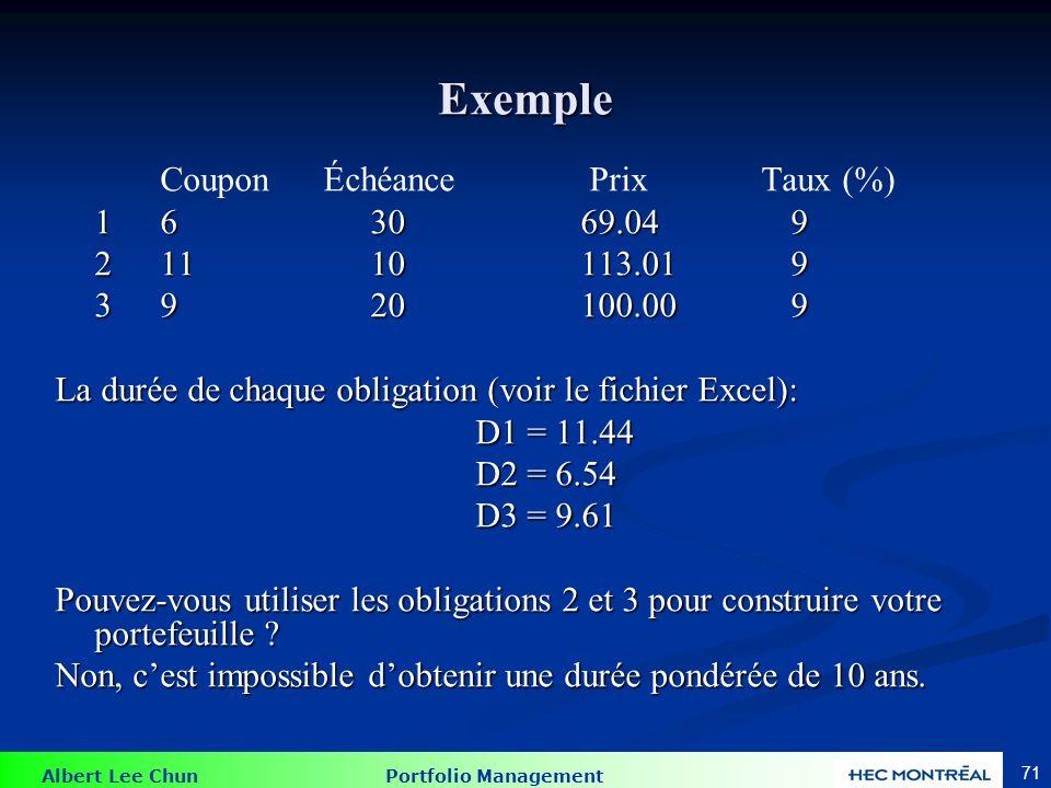 Albert Lee Chun Portfolio Management 71 Exemple Coupon Échéance Prix Taux (%) 1 63069.049 1 63069.049 21110113.019 3 920100.009 La durée de chaque obl