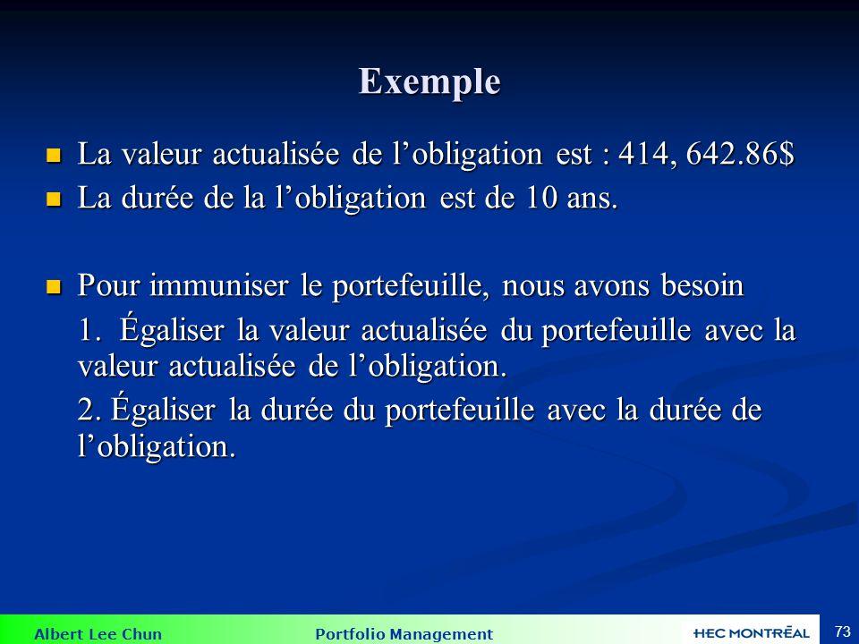 Albert Lee Chun Portfolio Management 73 Exemple La valeur actualisée de lobligation est : 414, 642.86$ La valeur actualisée de lobligation est : 414,