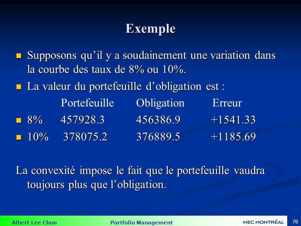 Albert Lee Chun Portfolio Management 76 Exemple Supposons quil y a soudainement une variation dans la courbe des taux de 8% ou 10%. Supposons quil y a