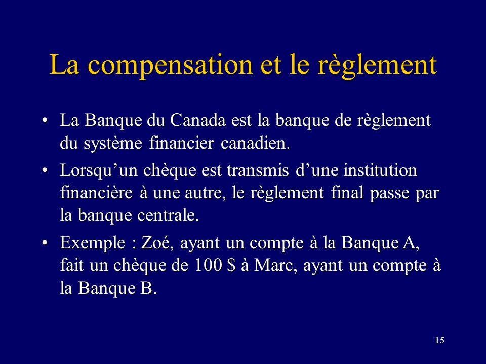 15 La compensation et le règlement La Banque du Canada est la banque de règlement du système financier canadien.La Banque du Canada est la banque de règlement du système financier canadien.