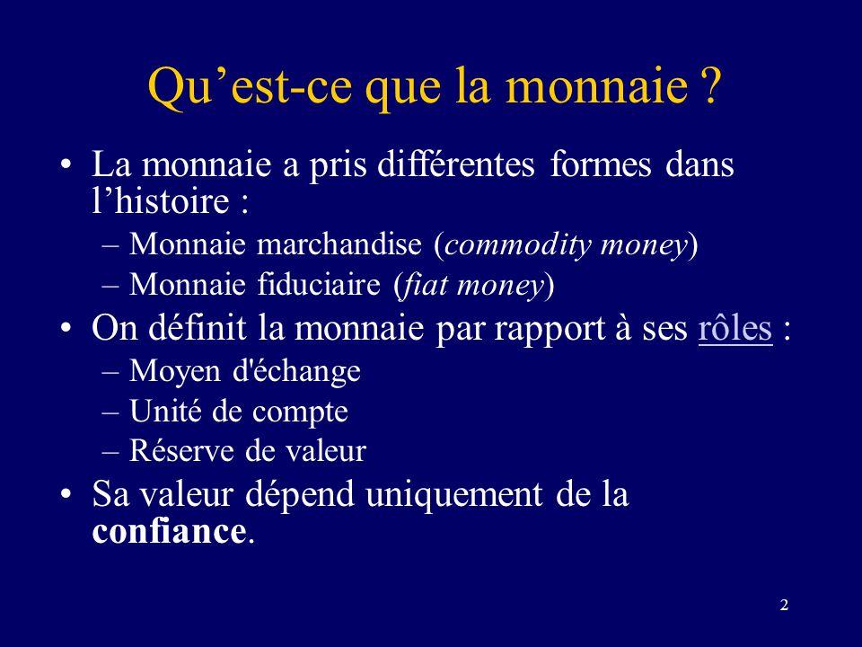 2 Quest-ce que la monnaie ? La monnaie a pris différentes formes dans lhistoire : –Monnaie marchandise (commodity money) –Monnaie fiduciaire (fiat mon