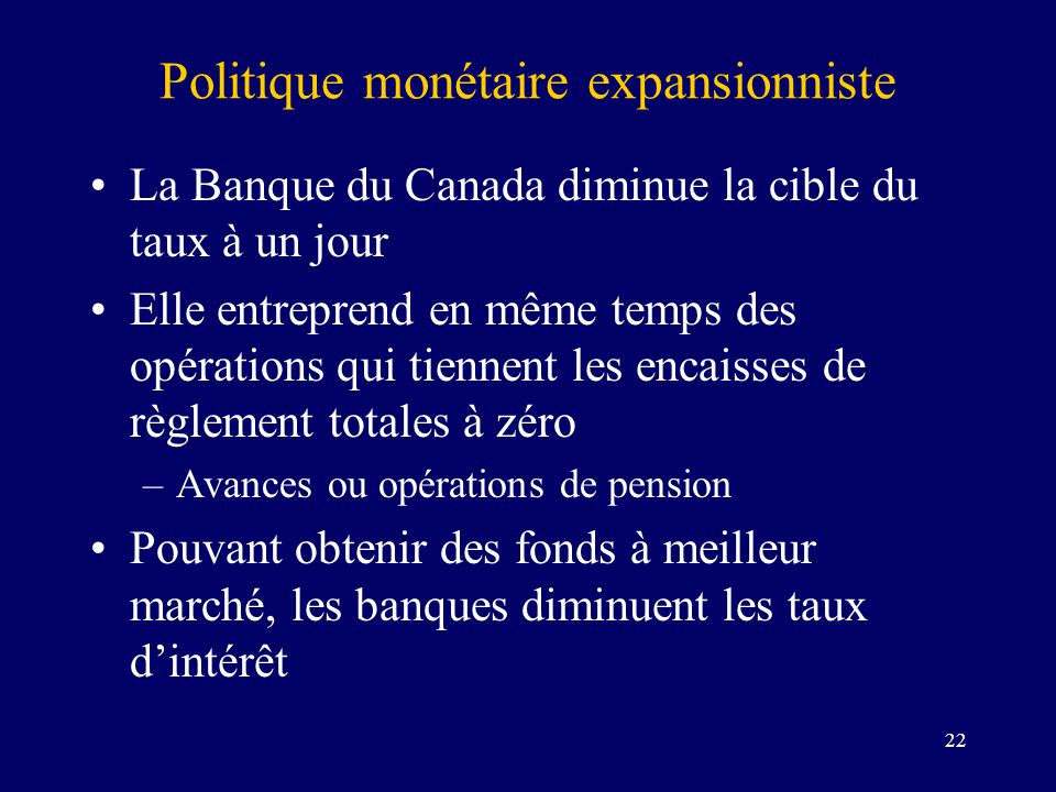 22 Politique monétaire expansionniste La Banque du Canada diminue la cible du taux à un jour Elle entreprend en même temps des opérations qui tiennent les encaisses de règlement totales à zéro –Avances ou opérations de pension Pouvant obtenir des fonds à meilleur marché, les banques diminuent les taux dintérêt