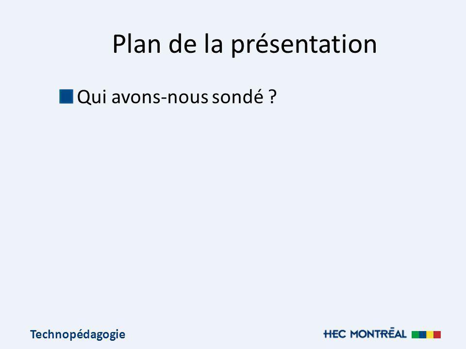 Technopédagogie Plan de la présentation Qui avons-nous sondé ?
