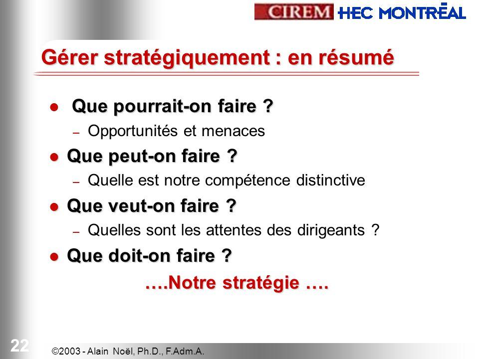 ©2003 - Alain Noël, Ph.D., F.Adm.A. 22 Gérer stratégiquement : en résumé Que pourrait-on faire .