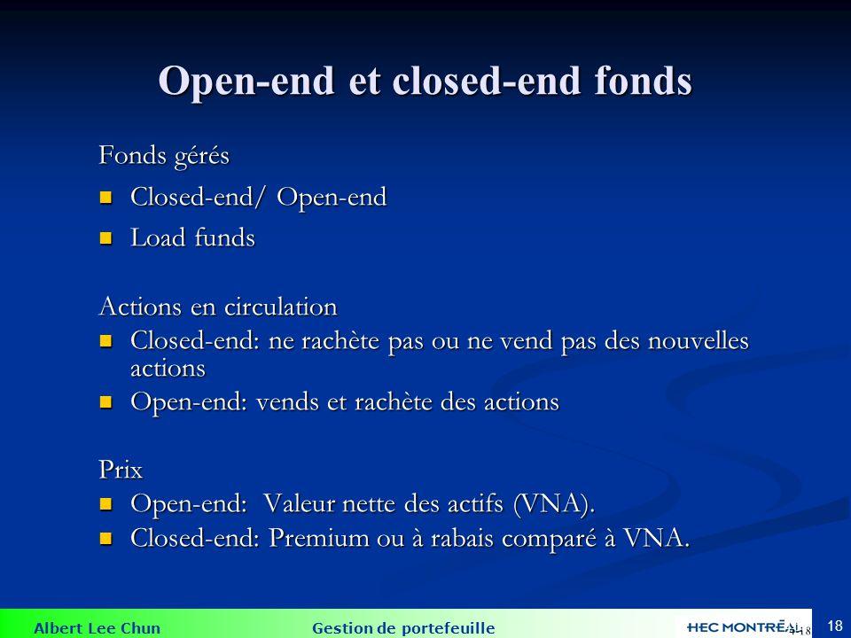 Albert Lee Chun Gestion de portefeuille 18 Open-end et closed-end fonds Fonds gérés Closed-end/ Open-end Closed-end/ Open-end Load funds Load funds Ac