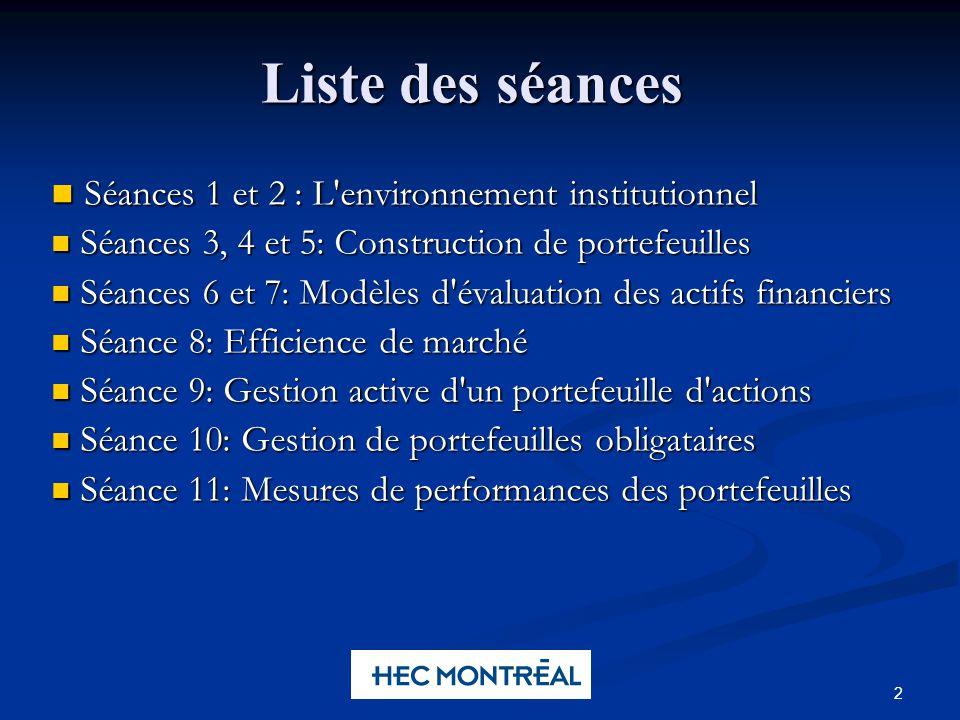 2 Liste des séances Séances 1 et 2 : L'environnement institutionnel Séances 1 et 2 : L'environnement institutionnel Séances 3, 4 et 5: Construction de