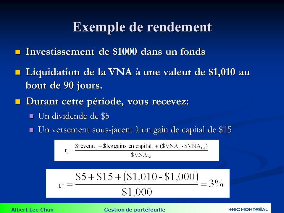 Albert Lee Chun Gestion de portefeuille Exemple de rendement Investissement de $1000 dans un fonds Investissement de $1000 dans un fonds Liquidation d