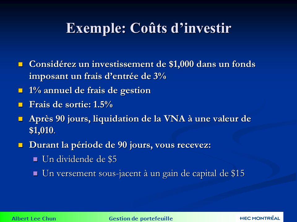 Albert Lee Chun Gestion de portefeuille Exemple: Coûts dinvestir Considérez un investissement de $1,000 dans un fonds imposant un frais dentrée de 3%