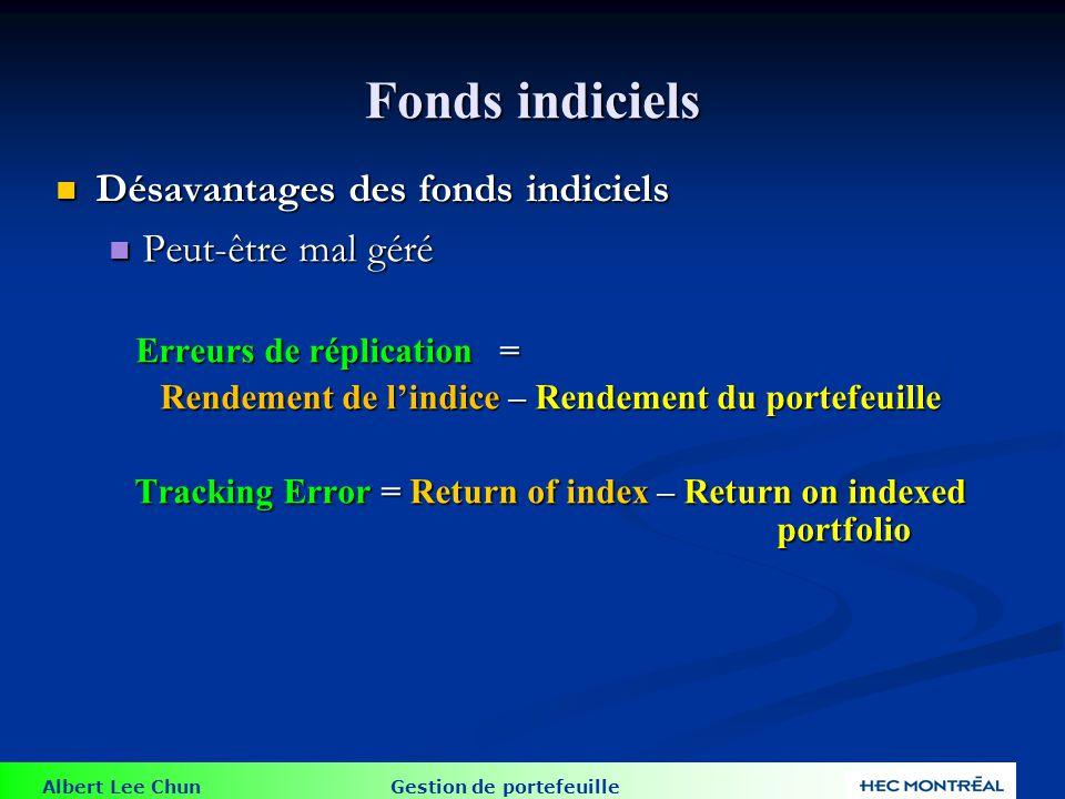 Albert Lee Chun Gestion de portefeuille Fonds indiciels Désavantages des fonds indiciels Désavantages des fonds indiciels Peut-être mal géré Peut-être
