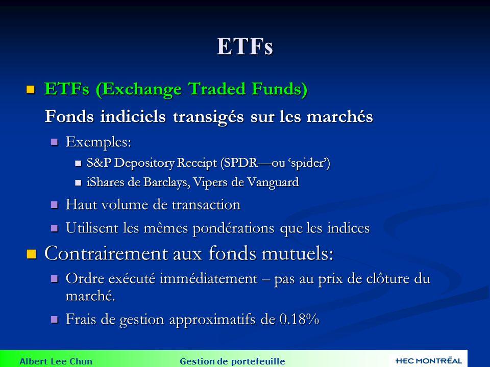 Albert Lee Chun Gestion de portefeuille ETFs ETFs (Exchange Traded Funds) ETFs (Exchange Traded Funds) Fonds indiciels transigés sur les marchés Fonds