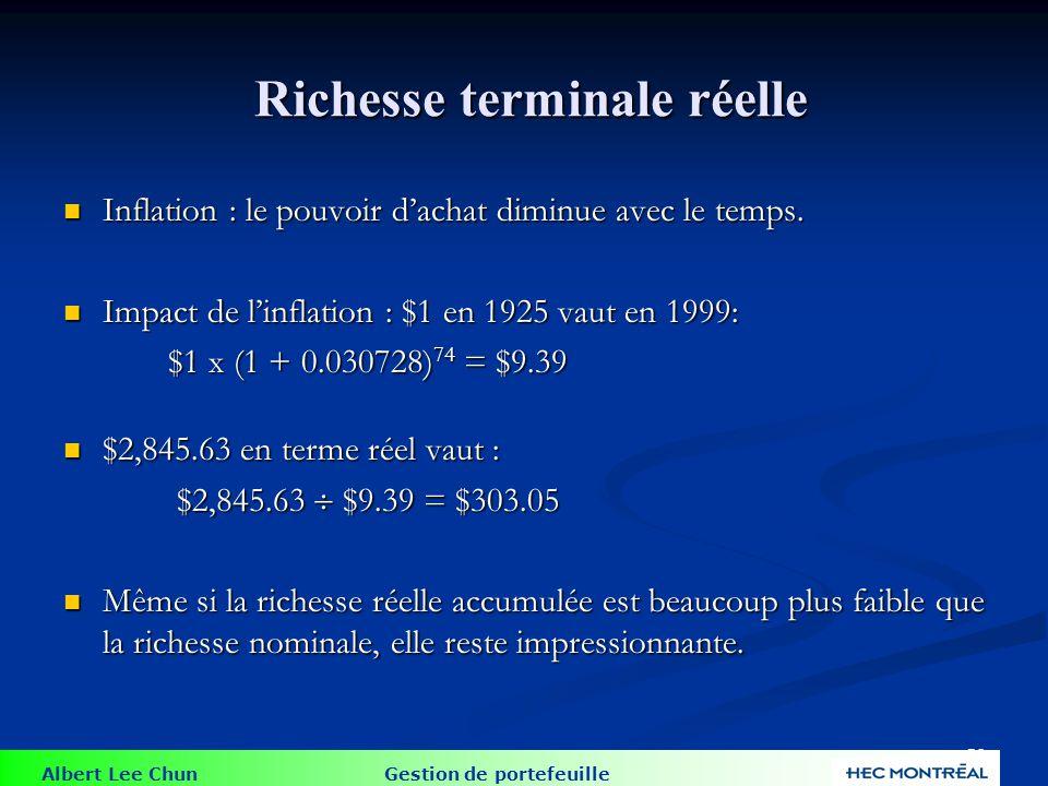 Albert Lee Chun Gestion de portefeuille 56 Richesse terminale réelle Richesse terminale réelle Inflation : le pouvoir dachat diminue avec le temps. In