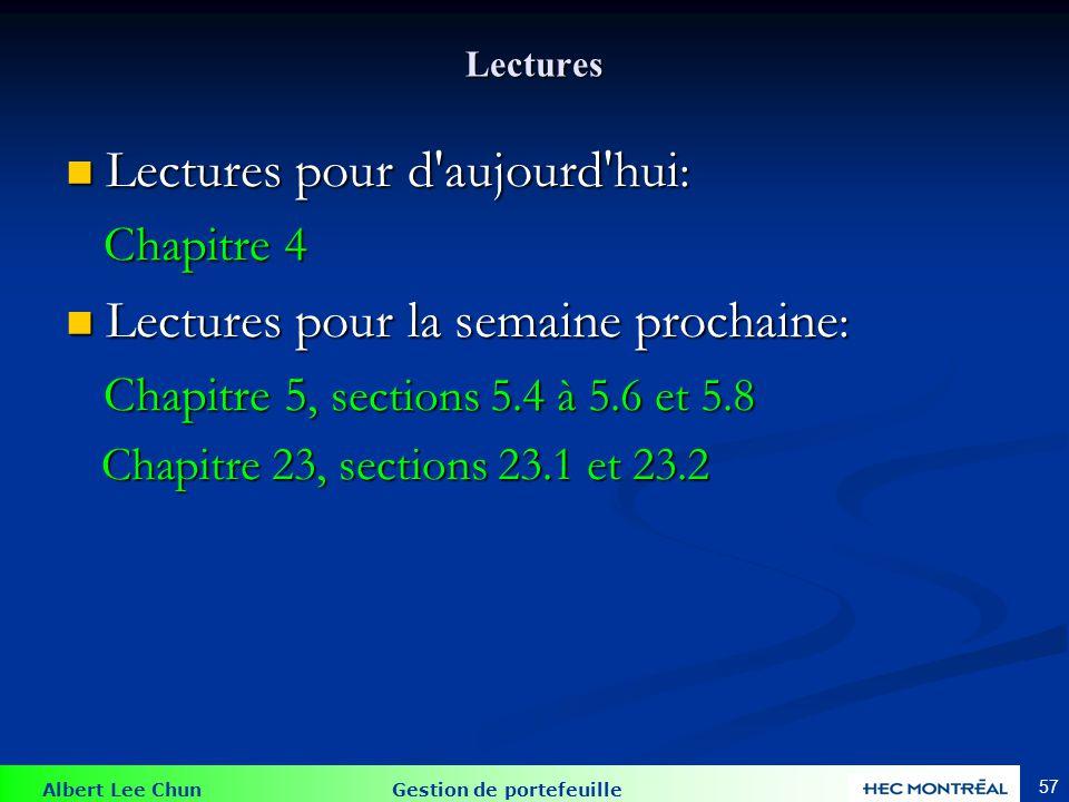 Albert Lee Chun Gestion de portefeuille 57 Lectures Lectures pour d'aujourd'hui : Lectures pour d'aujourd'hui : Chapitre 4 Chapitre 4 Lectures pour la