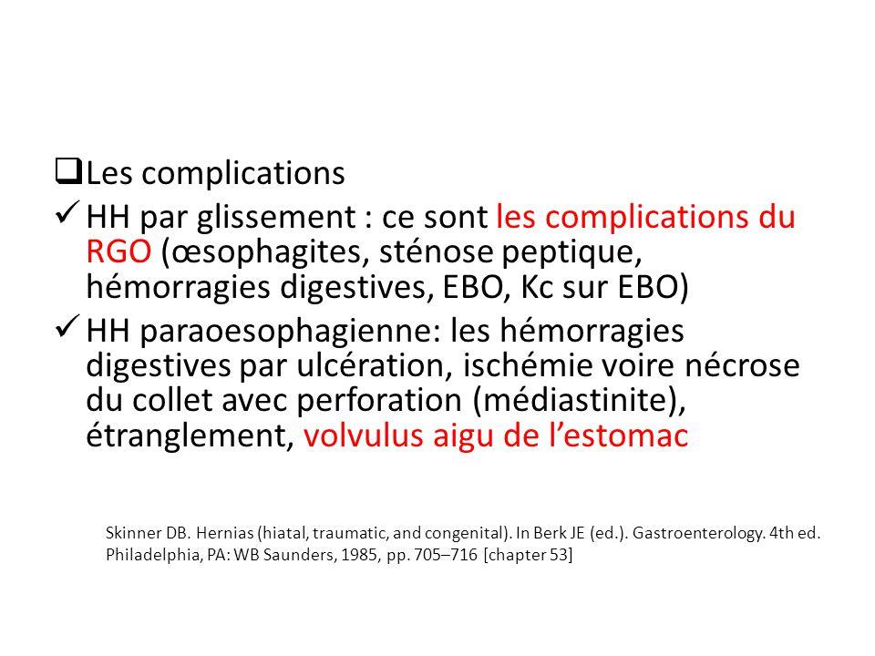 Les complications HH par glissement : ce sont les complications du RGO (œsophagites, sténose peptique, hémorragies digestives, EBO, Kc sur EBO) HH paraoesophagienne: les hémorragies digestives par ulcération, ischémie voire nécrose du collet avec perforation (médiastinite), étranglement, volvulus aigu de lestomac Skinner DB.