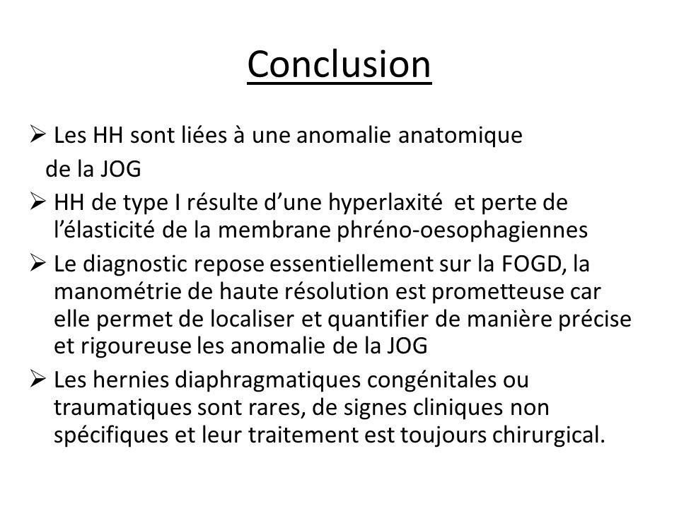 Conclusion Les HH sont liées à une anomalie anatomique de la JOG HH de type I résulte dune hyperlaxité et perte de lélasticité de la membrane phréno-oesophagiennes Le diagnostic repose essentiellement sur la FOGD, la manométrie de haute résolution est prometteuse car elle permet de localiser et quantifier de manière précise et rigoureuse les anomalie de la JOG Les hernies diaphragmatiques congénitales ou traumatiques sont rares, de signes cliniques non spécifiques et leur traitement est toujours chirurgical.
