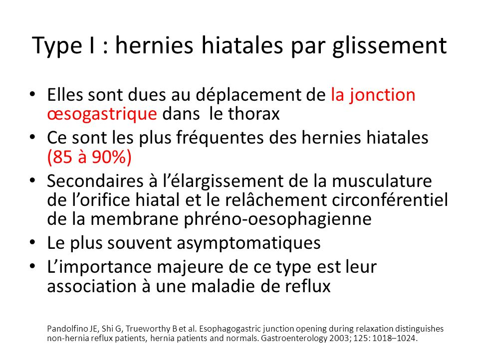 1.Réduction de la hernie 2.La résection du sac herniaire 3.Suture des piliers 4.Mise en place de la prothèse5.Fundoplicature complète