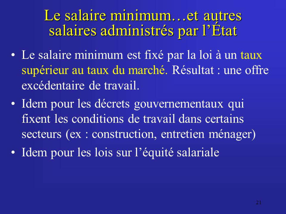 21 Le salaire minimum…et autres salaires administrés par lÉtat Le salaire minimum est fixé par la loi à un taux supérieur au taux du marché. Résultat