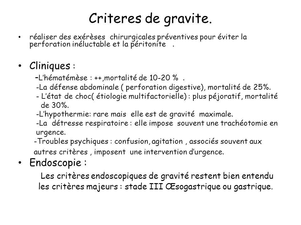 Criteres de gravite.