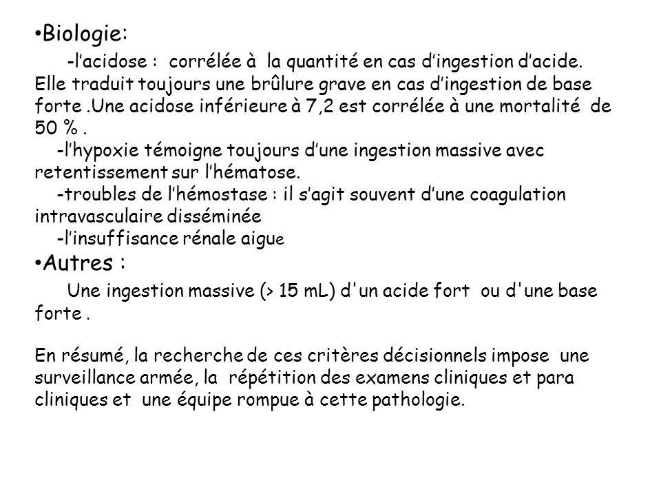 Biologie: -lacidose : corrélée à la quantité en cas dingestion dacide. Elle traduit toujours une brûlure grave en cas dingestion de base forte.Une aci
