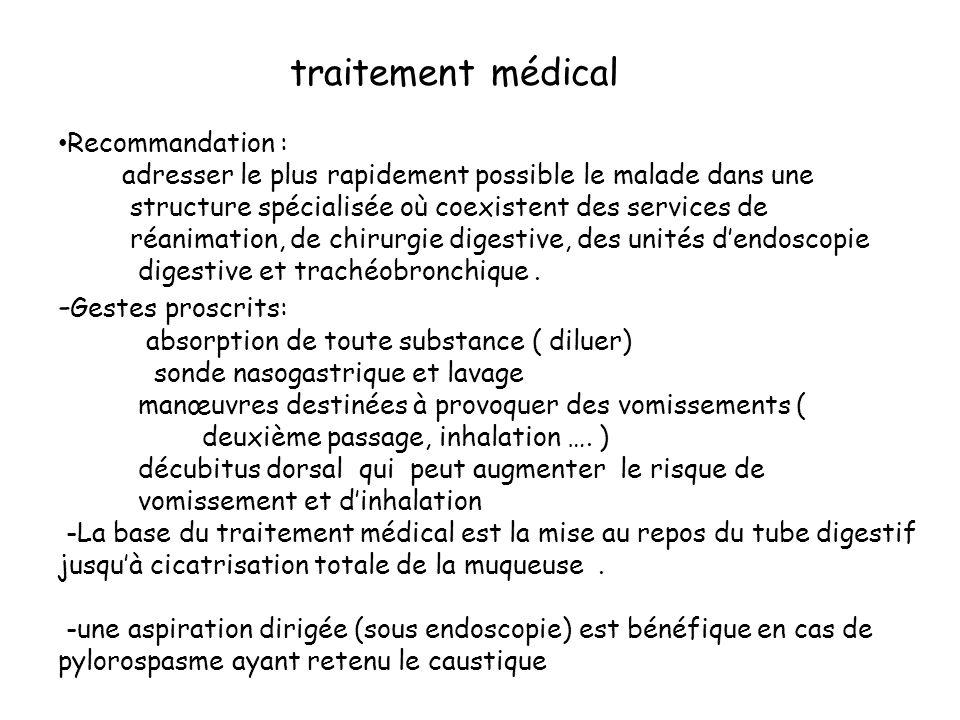 traitement médical Recommandation : adresser le plus rapidement possible le malade dans une structure spécialisée où coexistent des services de réanim