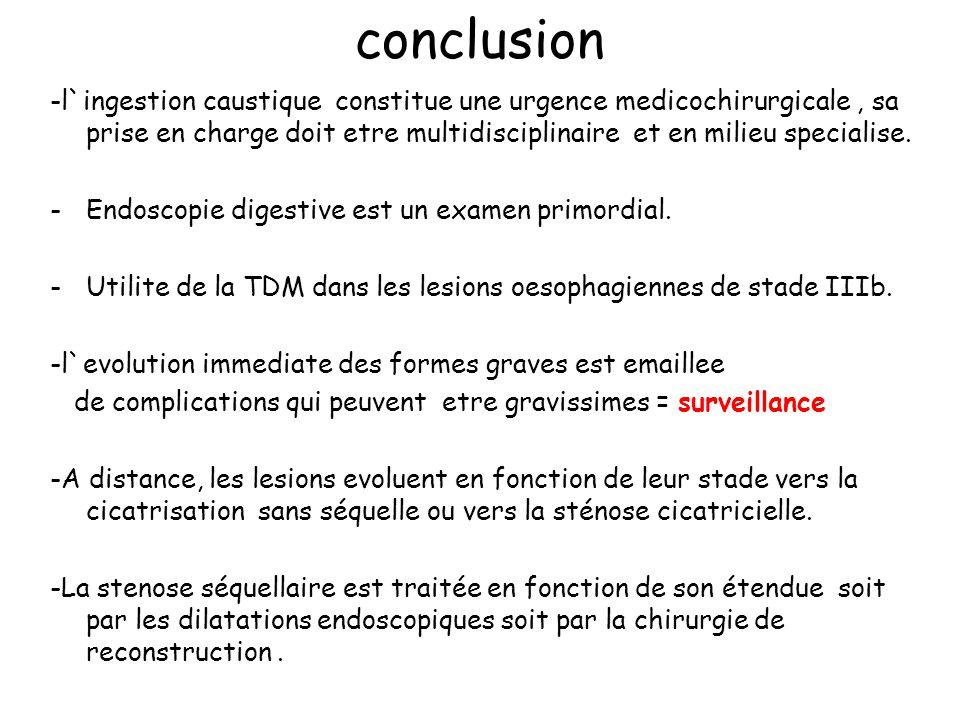 conclusion -l`ingestion caustique constitue une urgence medicochirurgicale, sa prise en charge doit etre multidisciplinaire et en milieu specialise. -