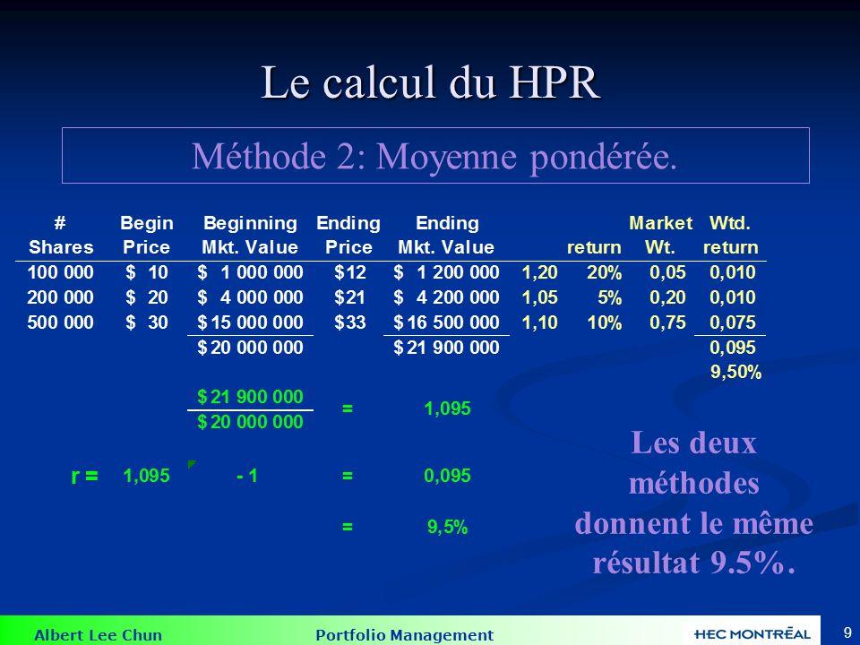 Albert Lee Chun Portfolio Management 9 Le calcul du HPR Méthode 2: Moyenne pondérée. Les deux méthodes donnent le même résultat 9.5%.