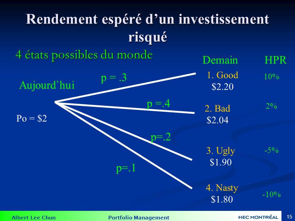 Albert Lee Chun Portfolio Management 15 Rendement espéré dun investissement risqué 4 états possibles du monde 2. Bad $2.04 3. Ugly $1.90 4. Nasty $1.8