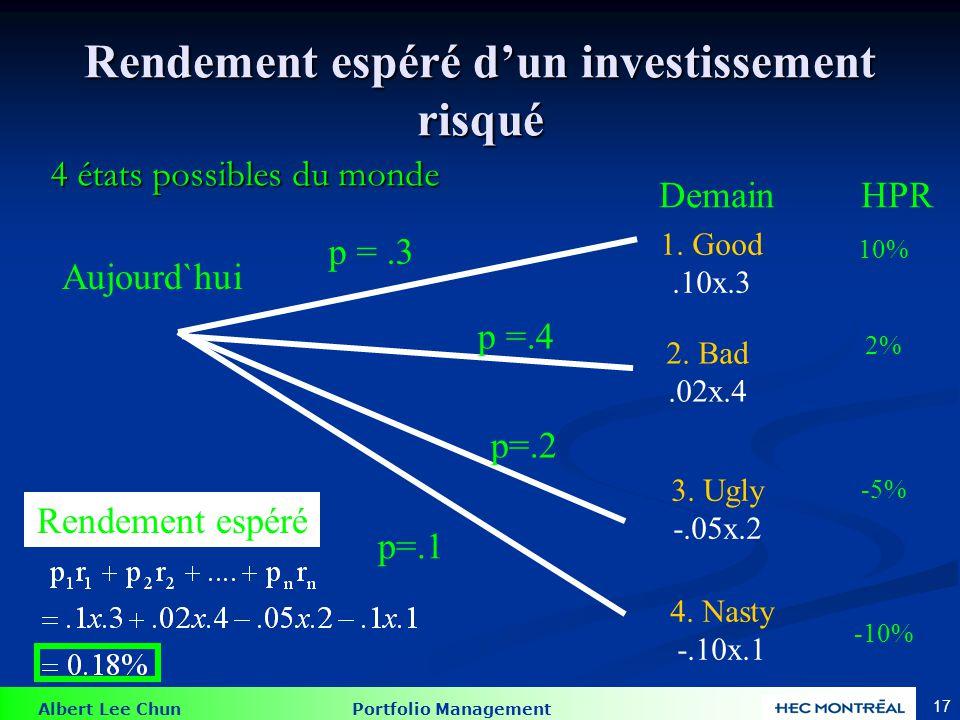 Albert Lee Chun Portfolio Management 17 Rendement espéré dun investissement risqué 4 états possibles du monde 1. Good.10x.3 2. Bad.02x.4 3. Ugly -.05x