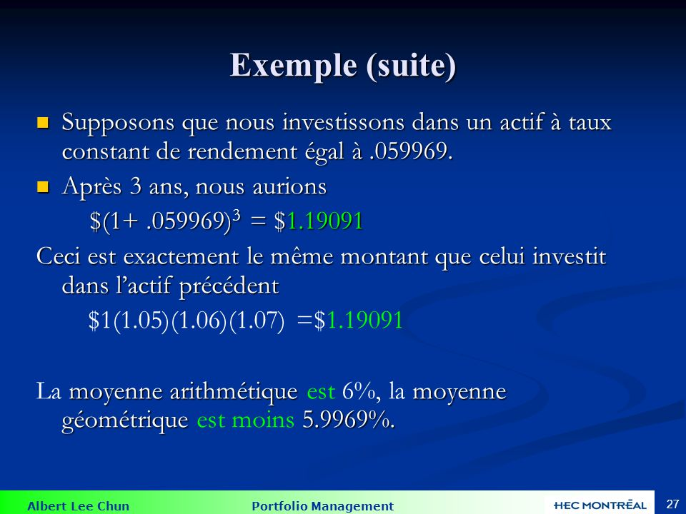 Albert Lee Chun Portfolio Management 27 Exemple (suite) Supposons que nous investissons dans un actif à taux constant de rendement égal à.059969.