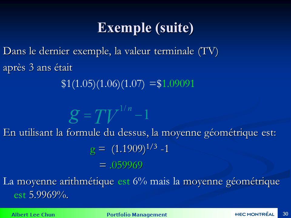 Albert Lee Chun Portfolio Management 30 Exemple (suite) Dans le dernier exemple, la valeur terminale (TV) après 3 ans était $1(1.05)(1.06)(1.07) =$1.09091 En utilisant la formule du dessus, la moyenne géométrique est: g = (1.1909) 1/3 -1 =.059969 =.059969 moyenne arithmétique moyenne géométrique 5.9969%.