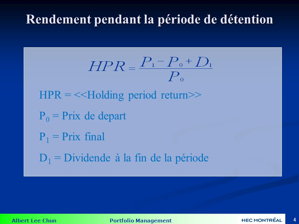 Albert Lee Chun Portfolio Management 55 La distribution de fréquences du rendement Source: Ross, Westerfield, Jordan, and Roberts, Fundamentals of Corporate Finance, 5th Canadian edition, McGraw-Hill Ryerson.