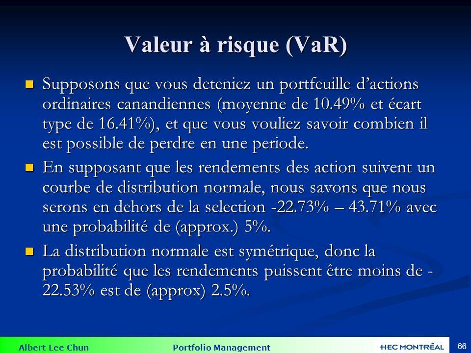 Albert Lee Chun Portfolio Management 66 Valeur à risque (VaR) Supposons que vous deteniez un portfeuille dactions ordinaires canandiennes (moyenne de