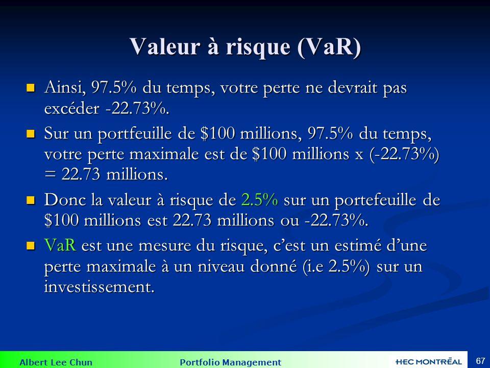 Albert Lee Chun Portfolio Management 67 Valeur à risque (VaR) Ainsi, 97.5% du temps, votre perte ne devrait pas excéder -22.73%. Ainsi, 97.5% du temps