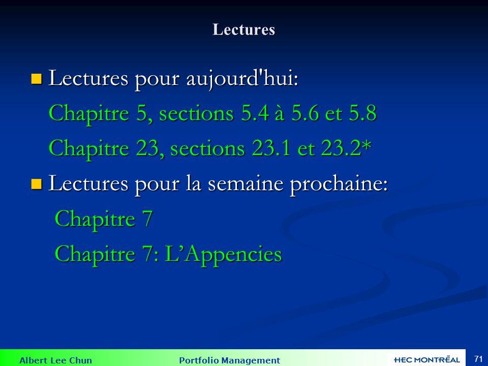 Albert Lee Chun Portfolio Management 71 Lectures Lectures pour aujourd hui: Lectures pour aujourd hui: Chapitre 5, sections 5.4 à 5.6 et 5.8 Chapitre 5, sections 5.4 à 5.6 et 5.8 Chapitre 23, sections 23.1 et 23.2* Chapitre 23, sections 23.1 et 23.2* Lectures pour la semaine prochaine: Lectures pour la semaine prochaine: Chapitre 7 Chapitre 7 Chapitre 7: LAppencies Chapitre 7: LAppencies