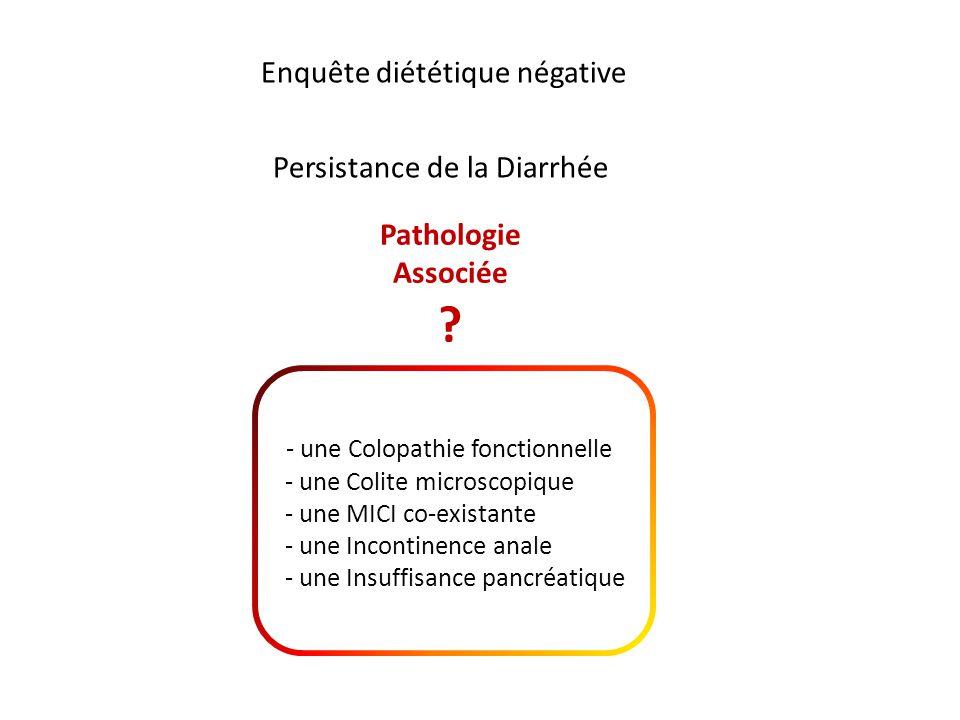 Enquête diététique négative Persistance de la Diarrhée Pathologie Associée ? - une Colopathie fonctionnelle - une Colite microscopique - une MICI co-e