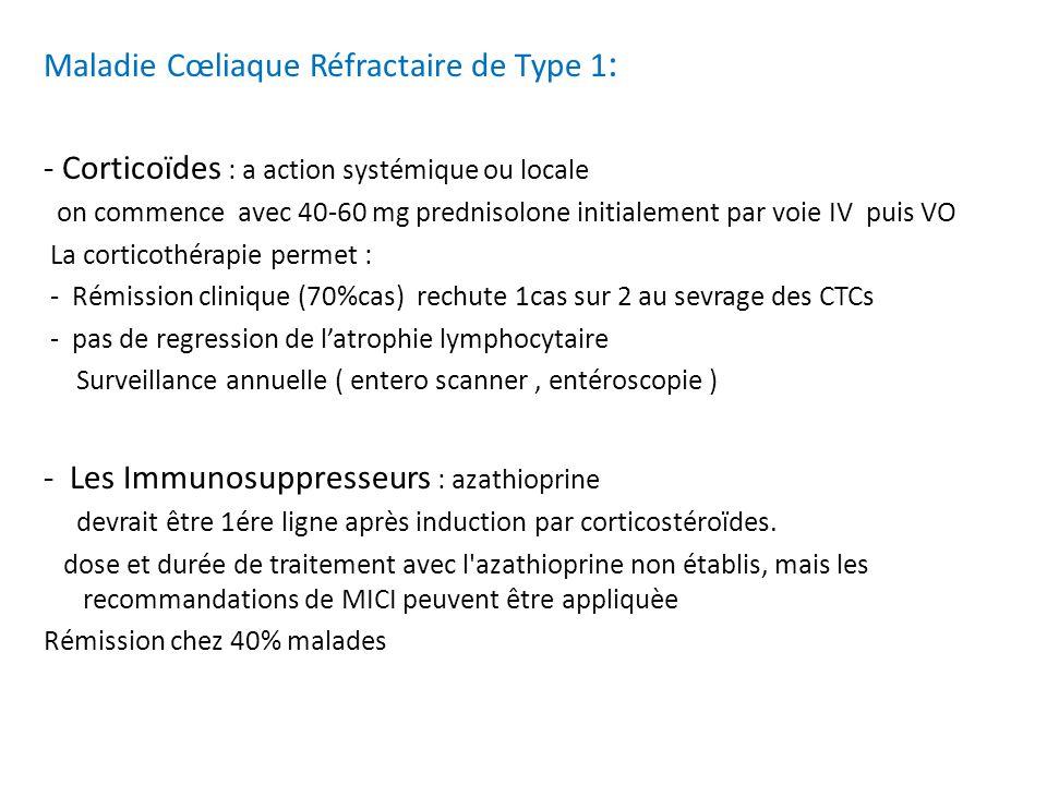 Maladie Cœliaque Réfractaire de Type 1 : - Corticoïdes : a action systémique ou locale on commence avec 40-60 mg prednisolone initialement par voie IV