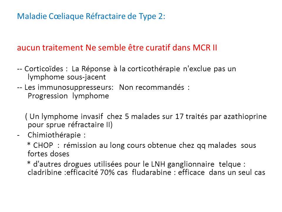 Maladie Cœliaque Réfractaire de Type 2: aucun traitement Ne semble être curatif dans MCR II -- Corticoïdes : La Réponse à la corticothérapie n'exclue