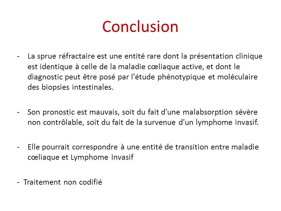Conclusion -La sprue réfractaire est une entité rare dont la présentation clinique est identique à celle de la maladie cœliaque active, et dont le dia